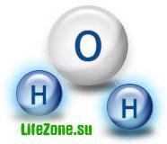 Структура молекулы воды состоит из одного атома кислорода и двух атомов водорода