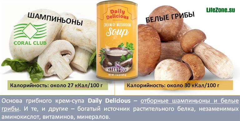 Для приготовления Крем-супа с белыми грибами Daily Delicious используются отборные шампиньоны и белые грибы