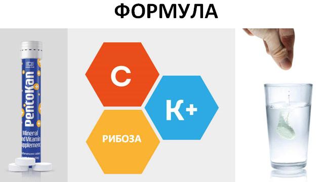 Формула пентокана - калий, витамин С и рибоза.