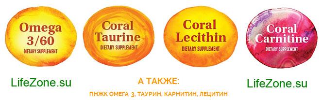 Дополнительно в состав программы входят Карнитин таурин лецитин ПНЖК Омега 3