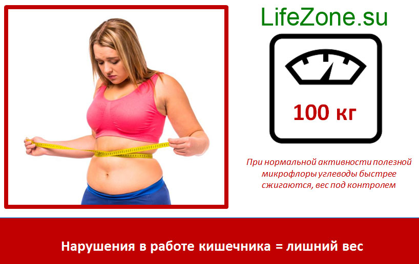 Нарушения в работе кишечника = лишний вес