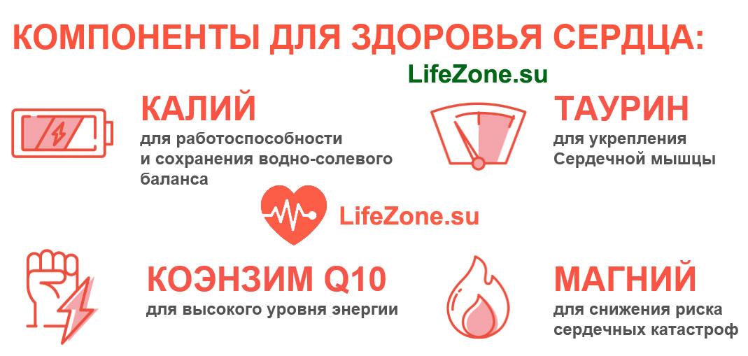 cardiopack компоненты для здоровья сердца - калий, таурин, кофермент Q10, магний