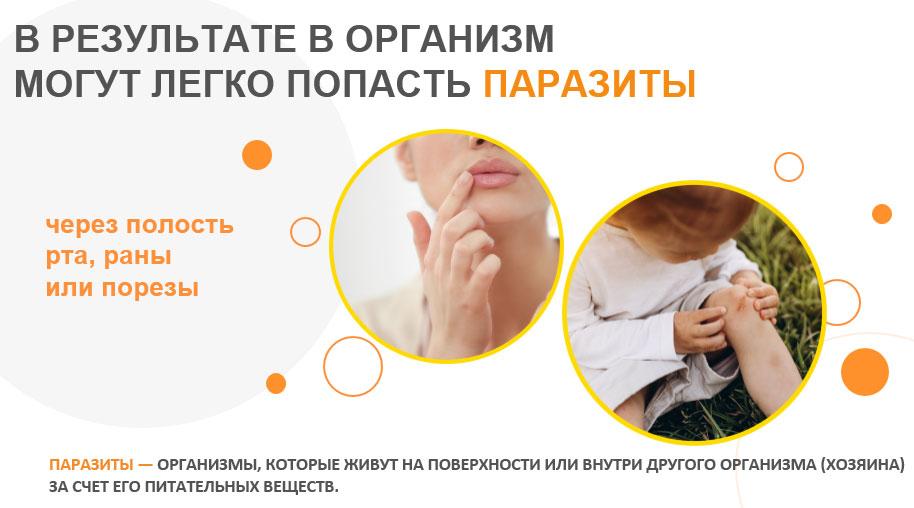 в организм легко могут попасть паразиты через полость рта, раны или порезы